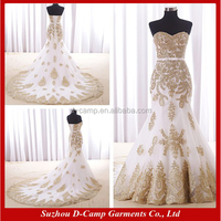 WD322 Strapless sweetheart neckline mermaid design white and gold wedding dress for pakistan