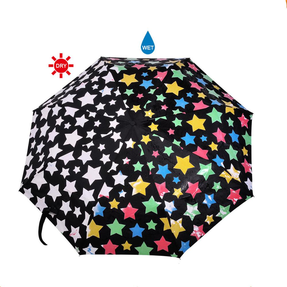 New Invention Color Changing Umbrella 3 Folding With <strong>J</strong> Shape Handle