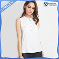collar designs women pure white shirt with pocket