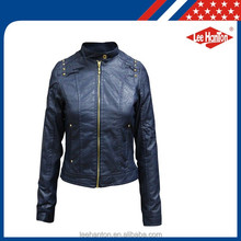 Garment Washed PU Jacket Color Red PU Leather Jacket Woman