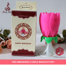 Pink flower happy musical candle wholesale