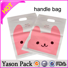 YASON reinforced patch handle gift bagpatch handle poly bagscolorful printed patch handle die cut bags