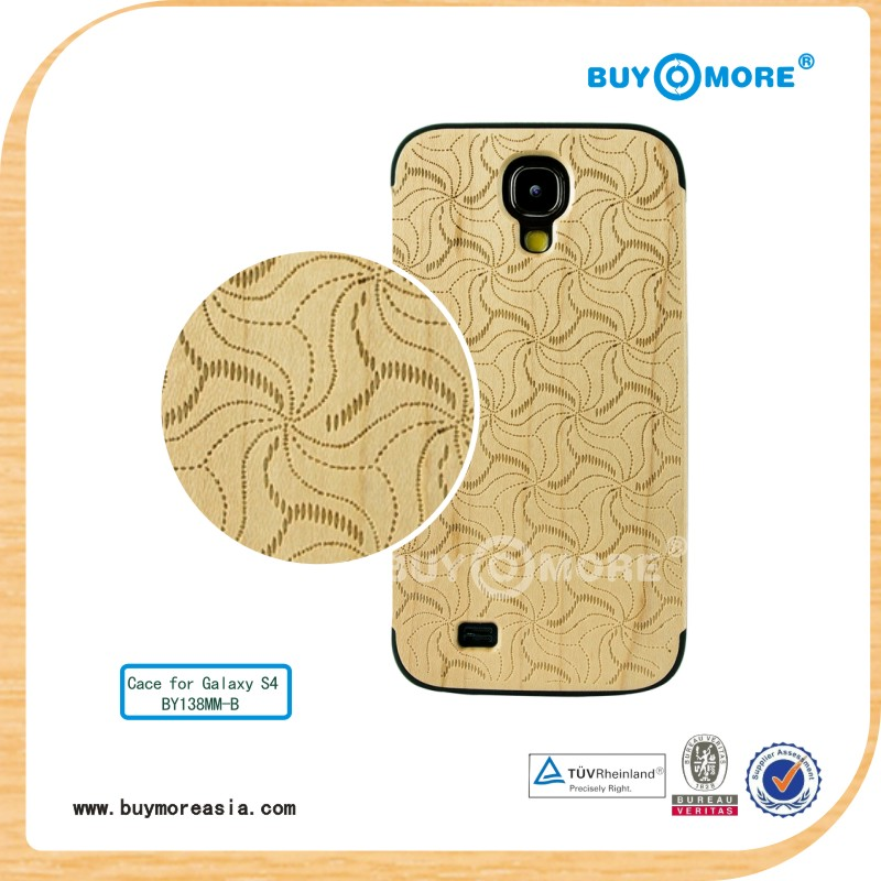 2014 Best selling cell phone natural bamboo wood back cover case for galaxy s4/samsung s4