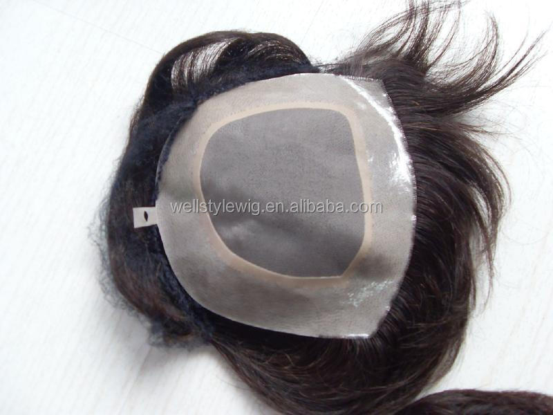 Wholesale price tangle free natural color India remy human hair toupee for men