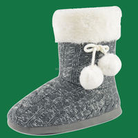 BHS096702 Women ladies white fake fur cuff pompom tie indoor knit boot slipper ankle bootie