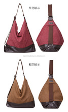 Yiwu designer women canvas leather bag/tote handbags with high quality wholesale