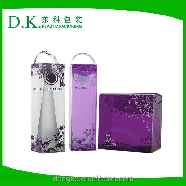Free Simple Transparent Foldable Plastic Wine Box With Handle