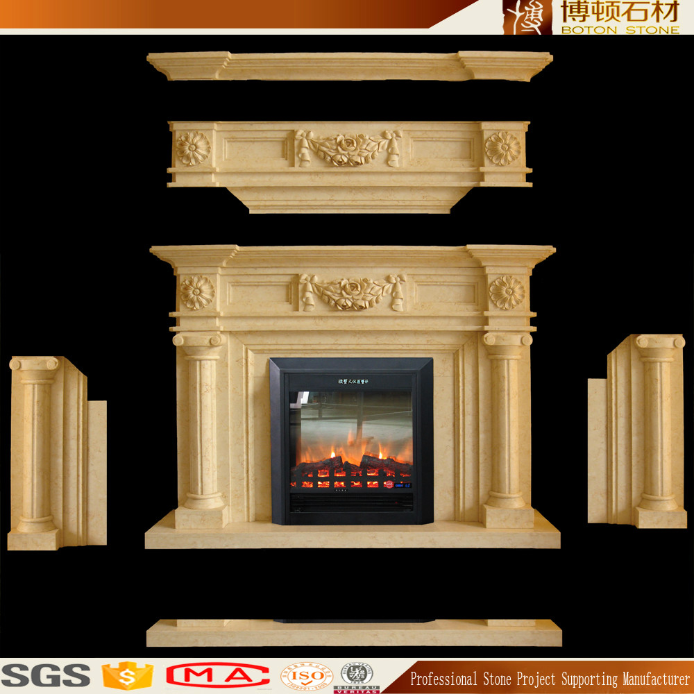 Hot style natural marble chimney piece granite fireplace for Buy stone for fireplace