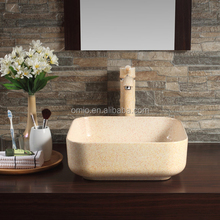 Small Yellow Ceramic Sink Bathroom Products Tabletop Basin Made From Chaozhou