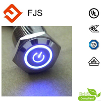 19mm vandal resistant metal push button led switch with power lighting button