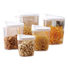 Set of 5 PP Plastic Pet Dog Food Airtight Transparent Stackable Kitchen Dry Food Storage Container with Easy Pour Lids