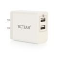 2 USB port travel wall charger with US plug, Smart charging, 5V, 3.1A Output