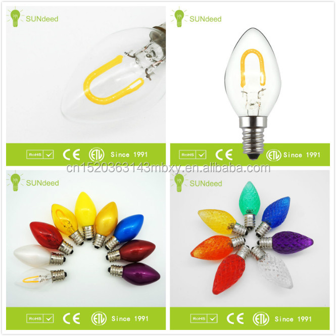 C7 color led lamps with E12/E14 base 0.7W/1w Christmas light/holiday light