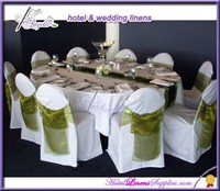 cheap banquet chair covers with organza sash for sale, white basic polyester chair covers