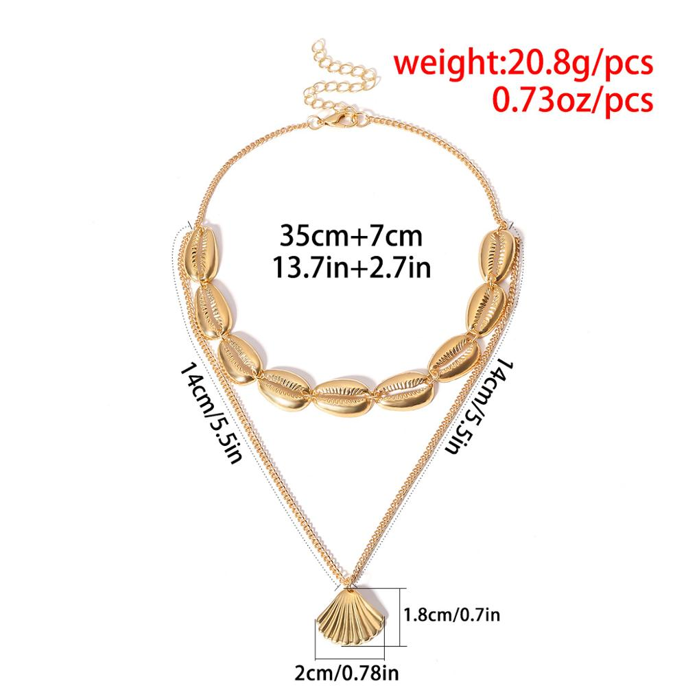 showfay brand O-Shaped necklace 18K gold plated thin chain choker necklace zinc alloy sea shell layered Pendant necklace