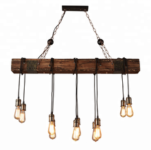 Antique Rustic Wooden carved chandelier lamp Led Decoration Industrial vintage big rope hanging pendant Light