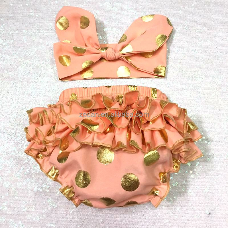 Vintage Peach Color Gold Polka dot Baby Ruffle Diaper cover Photoprop Ruffle Bloomers Newborn with Headband