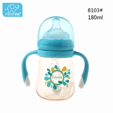 2018 new design colorful PPSU transparent break-resistant wide neck baby milk feeding bottle with three color