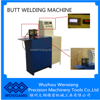 Butt welder for welding band saw blade without any auxiliary material