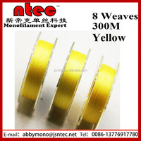 Yellow color 0.16mm 8 weaves 300M PE braided fishing line
