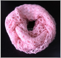 Soft ladies pink mohair sequin open knit scarf