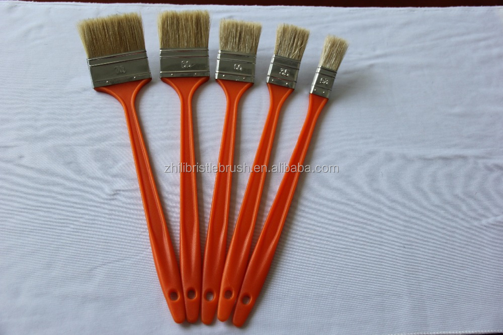 Natural bristle with long Elbow plasitc handle Paint Brush