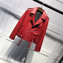 Wholesale Chinese Red Haining Genuine Leather Coat Leather Jacket for Woman