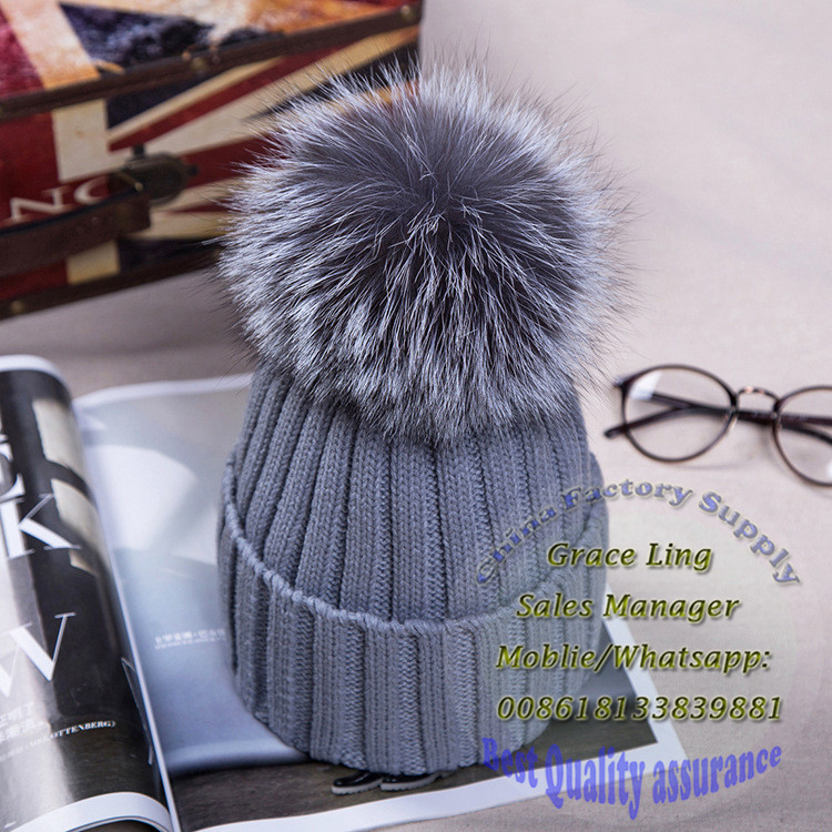 hot sell Girls Knitted Beanie Ladies Winter Hat with Fur Ball hat