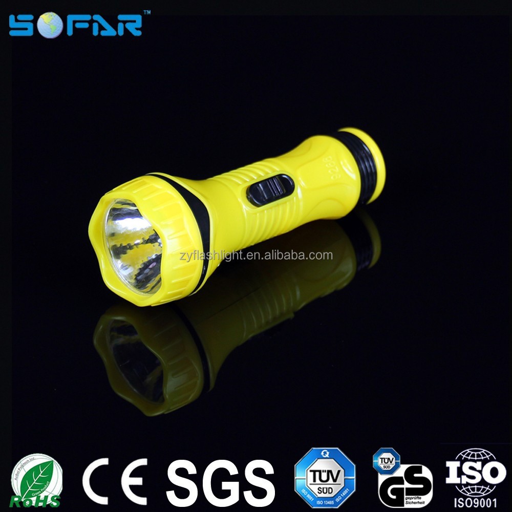Plastic material battery powered powerful led flashlights small led torch lights