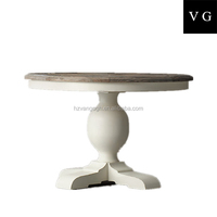 country style round wooden rustic dining table small solid wooden dining table with white base