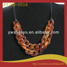 Fashion amber color two layer chain necklace for men