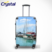 Printed Waterproof Lightweight Hard-Shell ABS+PC Carry-on Travel Luggage Sets/Colorful Zipper Luggage, Lady Trolley Luggage
