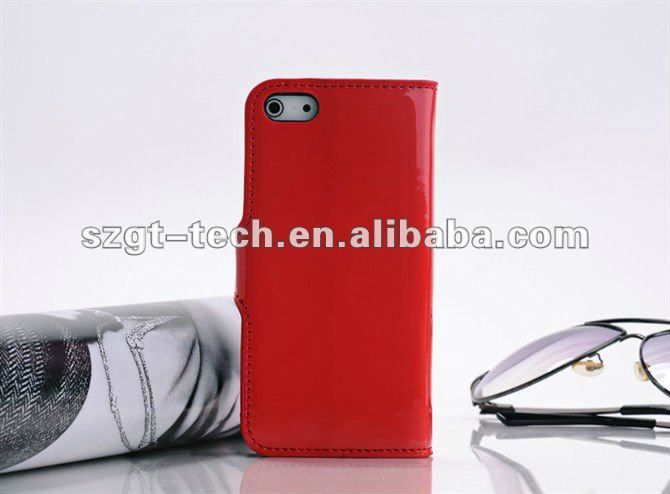 Newest glossy pattern PU leather wallet type case for iPhone5,for iPhone5 PU leather case phone protective skin case