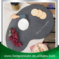 Factory Direct Sale Wholesale 25*17*0.5cm Laser Engraved Irregular Shape Slate Stone Cheese Stand