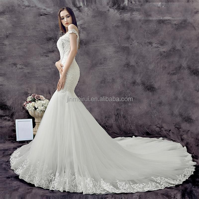 2016 Sexy Mermaid Sweetheart Off the Shoulder Appliques Lace Wedding Dress