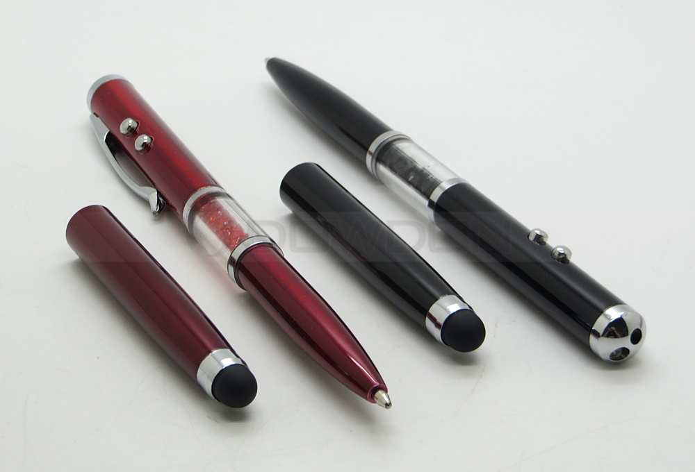 Multi-functional Capacitive Crystal Stylus with Ball Point Pen Red Laser LED light