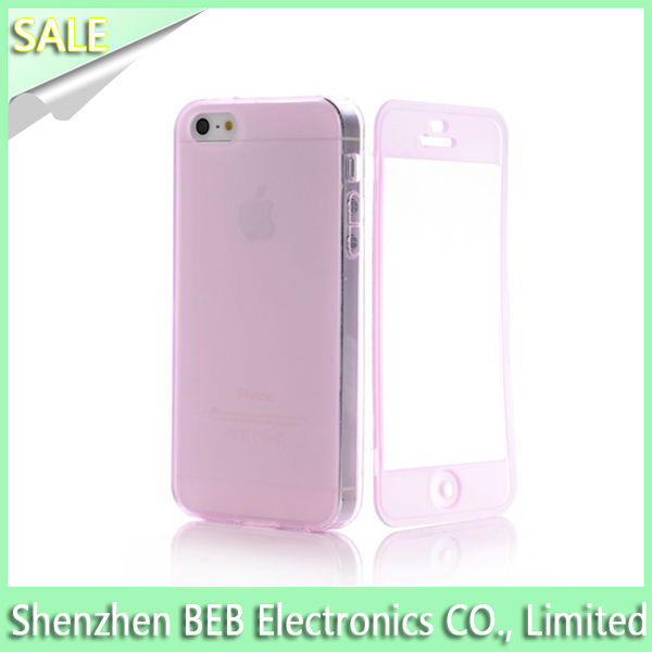 Hot selling clear tpu case for iphone5 has front protective cover