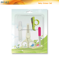 SBS0002 baby scissor & nail clipper & Tweezer & nail file custom baby scissor set 4pcs