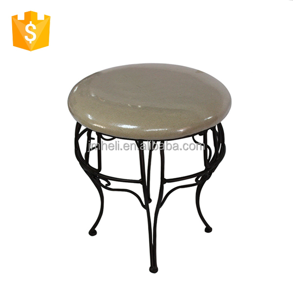 round shape metal feet bench with fabric cushion