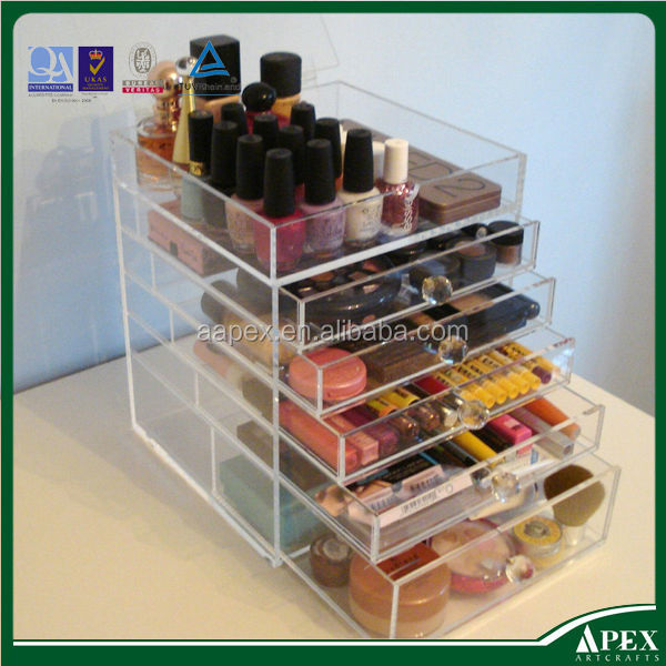 Deluxe Diamond Handle Clear Acrylic Cosmetic & Makeup Organizer 5 6 7 Drawer