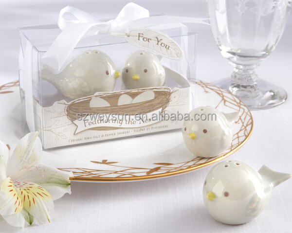 Wedding favors gifts love bird ceramics salt and pepper shaker