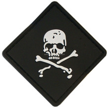 SKULL & CROSS BONES 3D PVC MORALE PATCH Hook & Loop Attachment