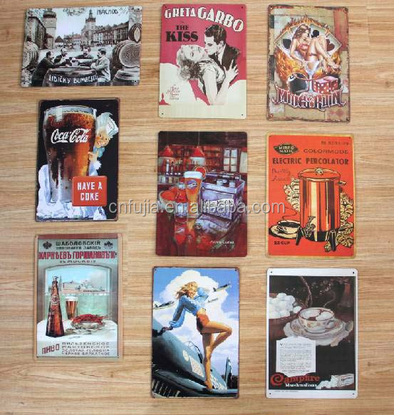 Hot sale custom cheap vintage tin plate sign