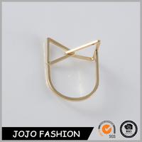 Cat ears shape wedding ring latest gold plated fashion finger ring