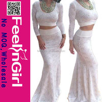 two piece white sexy ling sexy long gown & sexy dress