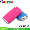 Guoguo factory price colorful LED torch oem power bank 4400mAh portable phone battery pack