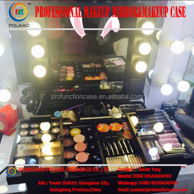 Hot sale hair station led lights makeup mirror aluminum mirrored cosmetic case portable makeup box with lights