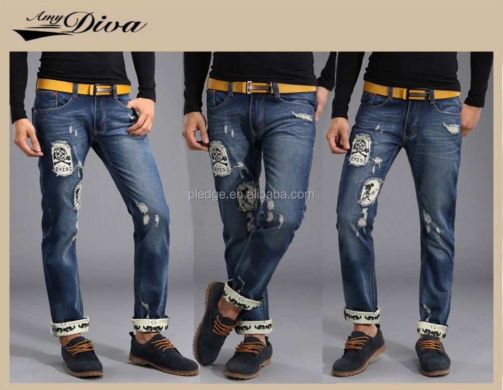 Hot sellinglatest design jeans pants vintage ripped jeans wholesale china dark blue wrinker denim jeans trousers