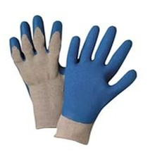 MHR Cheap 10 gauge grey cotton knitted blue wrinkle latex coated working gloves