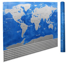 Ocean Blue Edition Large Scratch off World Map Poster with All Country Flags Scratch Off World Map in Blue and Silver